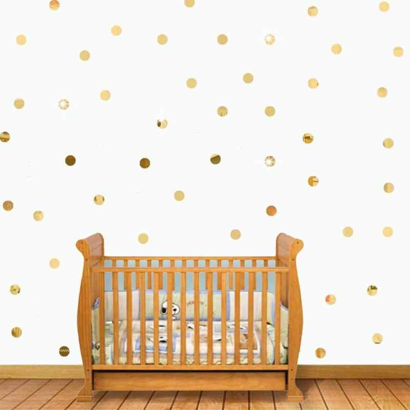 100 قطعة DIY غرفة المنزل خلفية ديكور جولة شكل الاكريليك صائق فسيفساء مرآة ملصقات جدار للماء ديكور المنزل