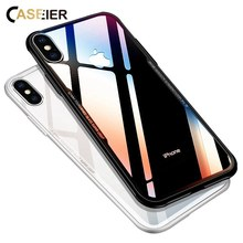 CASEIER Business Glass Phone Case For iPhone X XS Max XR 0.7MM Protective 6 6S 7 8 Plus Funda Accessories