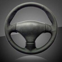 Авто оплетка на руль Крышка для peugeot 206 автомобиль-Стайлинг ручная строчка автомобиля рулевое колесо Чехлы интерьерные аксессуары