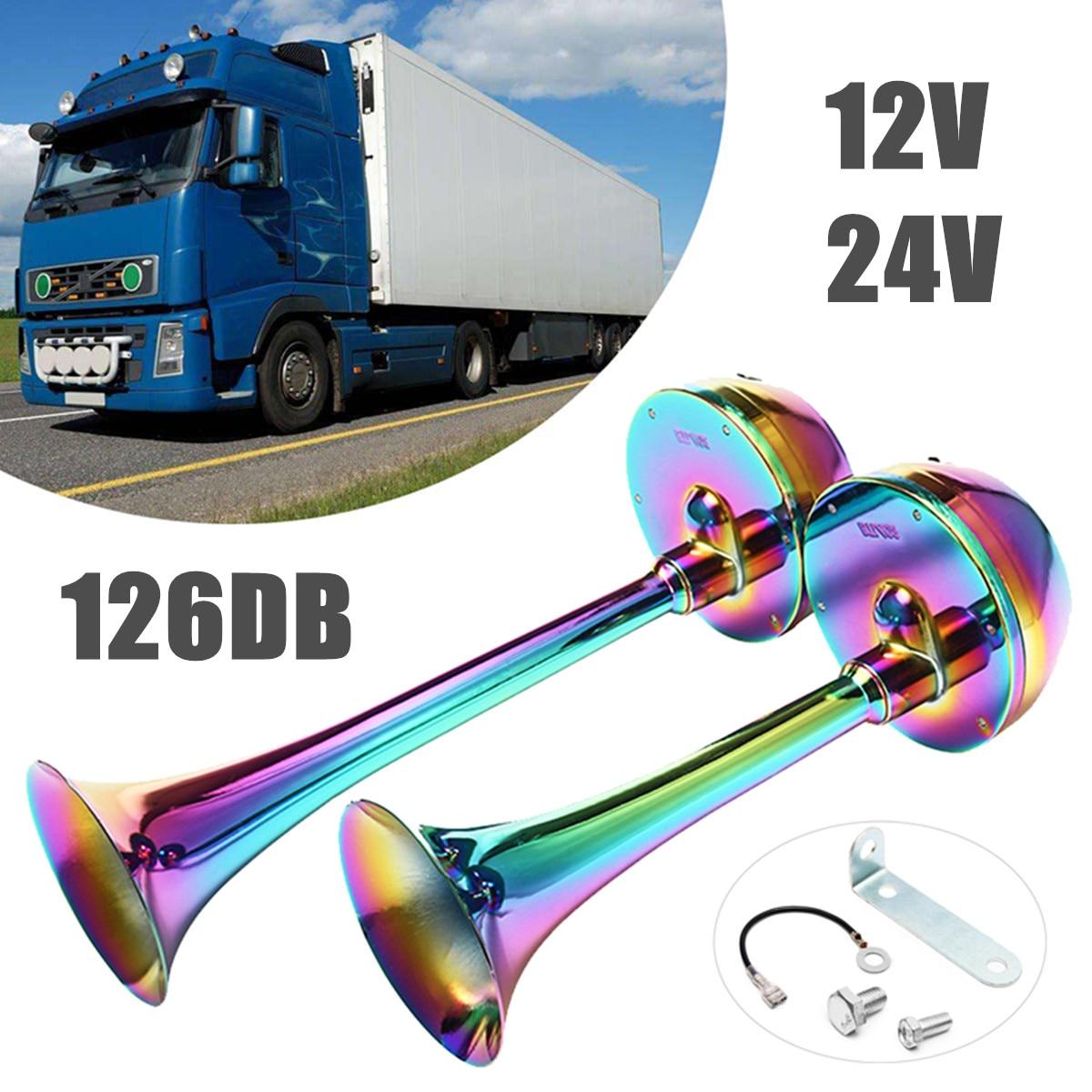 12 v/24 v 2 pcs 126DB Voiture Cornes Chrome Trompette Camion Train Voiture Super Fort Corne Kit Étanche auto Pièces De Rechange Universel