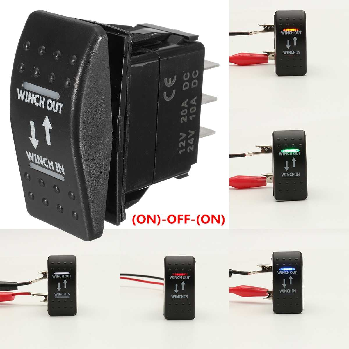 12V 20A Winch In Winch Out (ON)-OFF-(ON) Rocker Switch Momentary LED 7-Pin