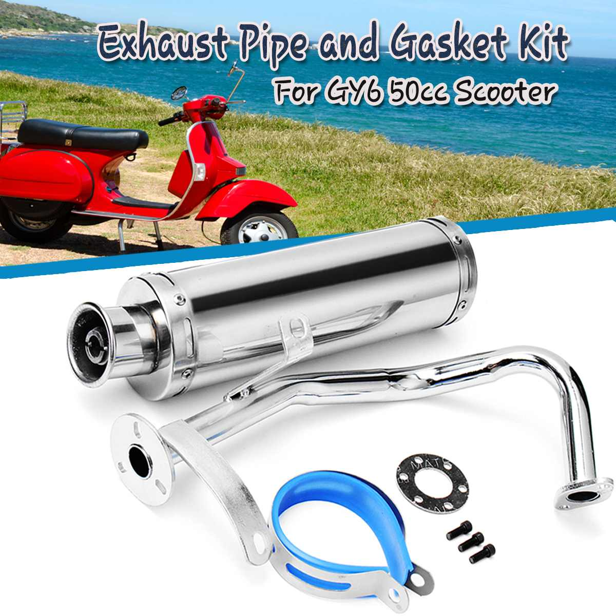 Stainless Steel Exhaust Muffler Pipe System Gasket Kit Fit For Scooter GY6 50cc GY6 QM139