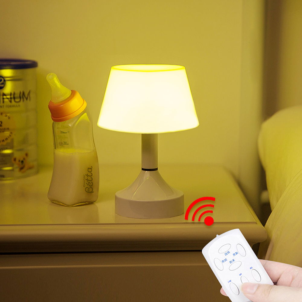Remote Control Led Stand Desk Lamp Push Button Switch Lampshade Led Rechargeable Night Light Table Lamps Reading Bedside Lamp