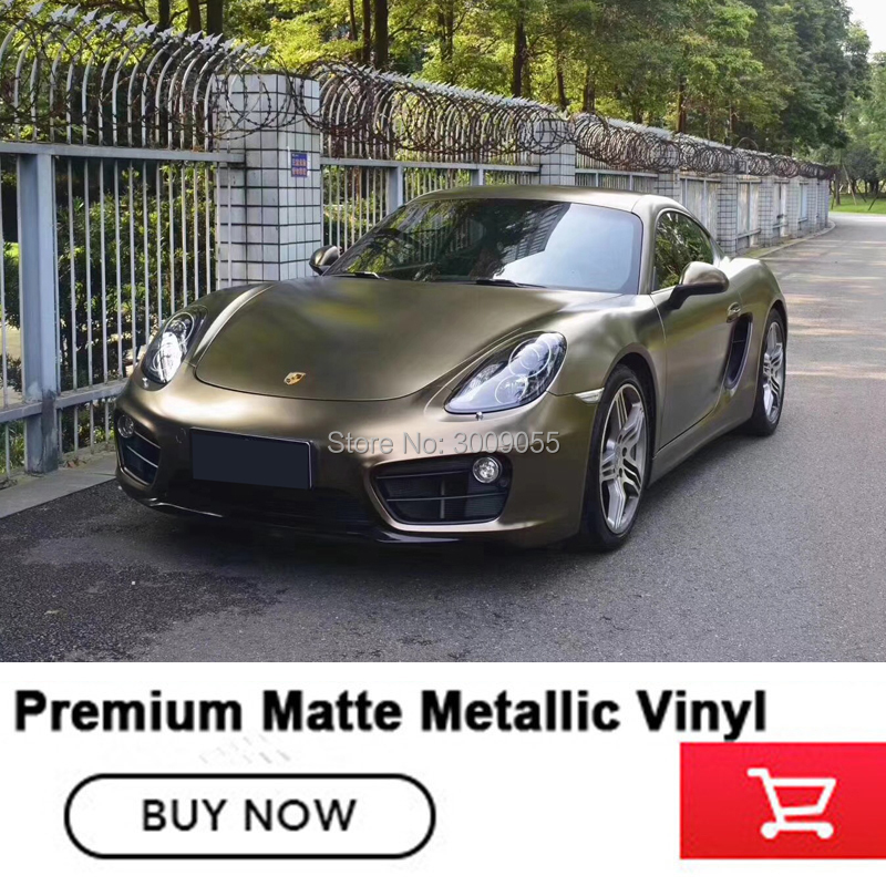 High-end Matte Metallic pearl metal bond gold vinyl wrapping film with air release channels solvent based adhesive