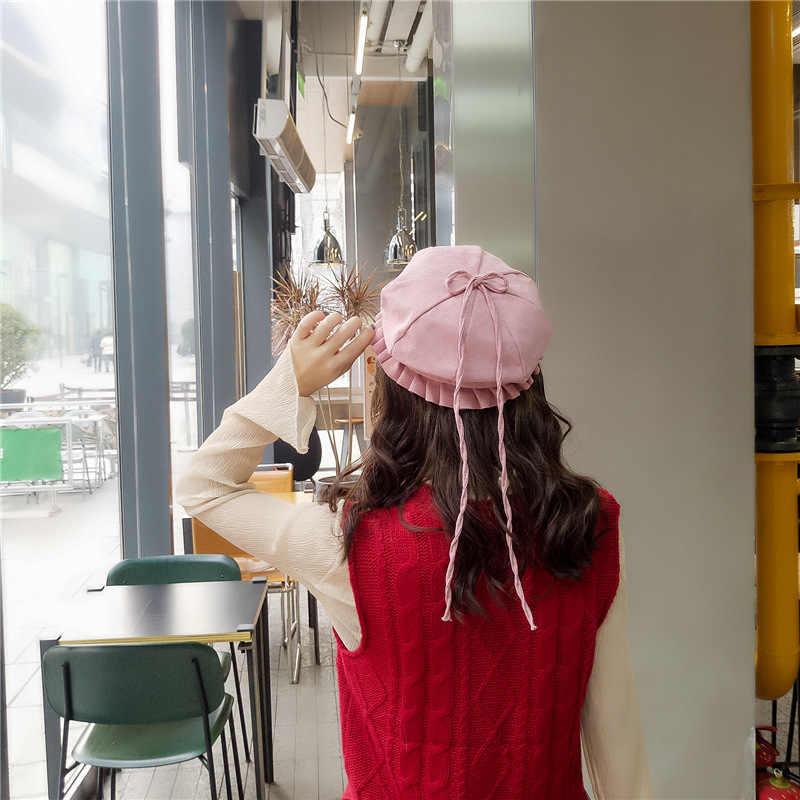 2019 Yeni Tatlı Sevimli Bere Kadın Kış Şapka Yumuşak Macaron Renk Şerit Pamuk Bere Klasik Yumuşak Halat Lotus Yaprağı Kenar yay Kapağı