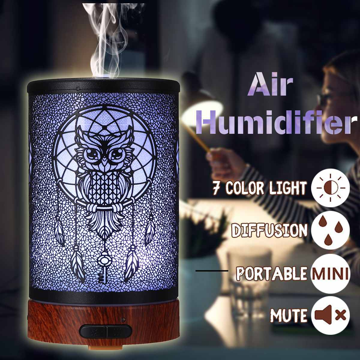 12W 100ml Owl Pattern Intelligent LED Lamp Essential Oil Humidifier Air Aromatherapy Diffuser Purifier Noiseless Iron Mist Maker