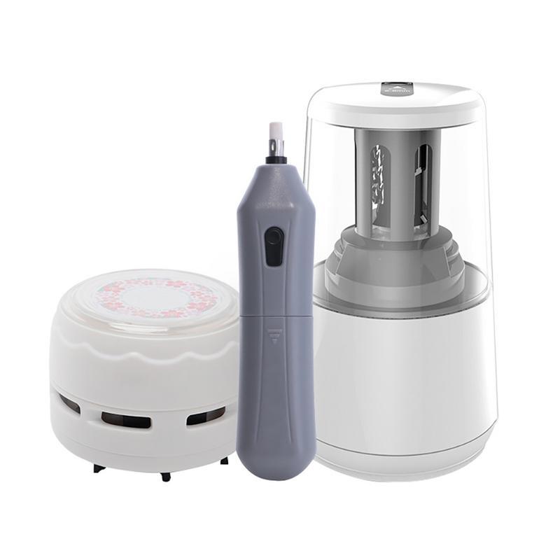 Electric Pencil Sharpener Mini Vacuum Cleaner Eraser Sketch Set For Student School Supplies Office Accessories