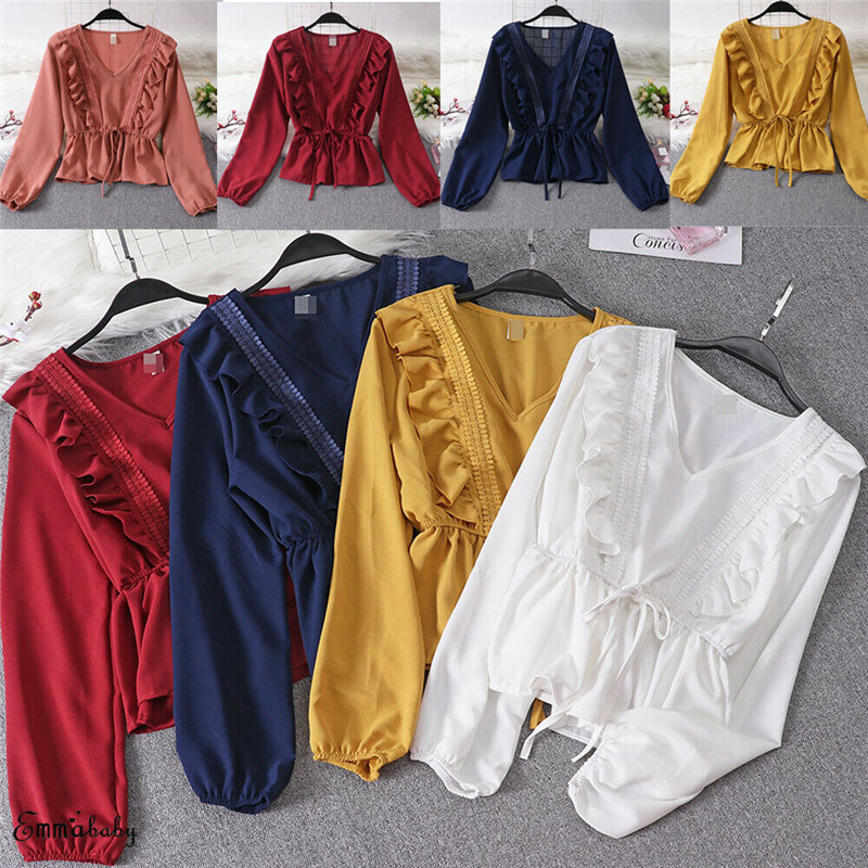 Women V Neck Ladies Ruffle Tie Chiffon Summer Casual Loose Shirt Tops Blouse Full Sleeve Solid
