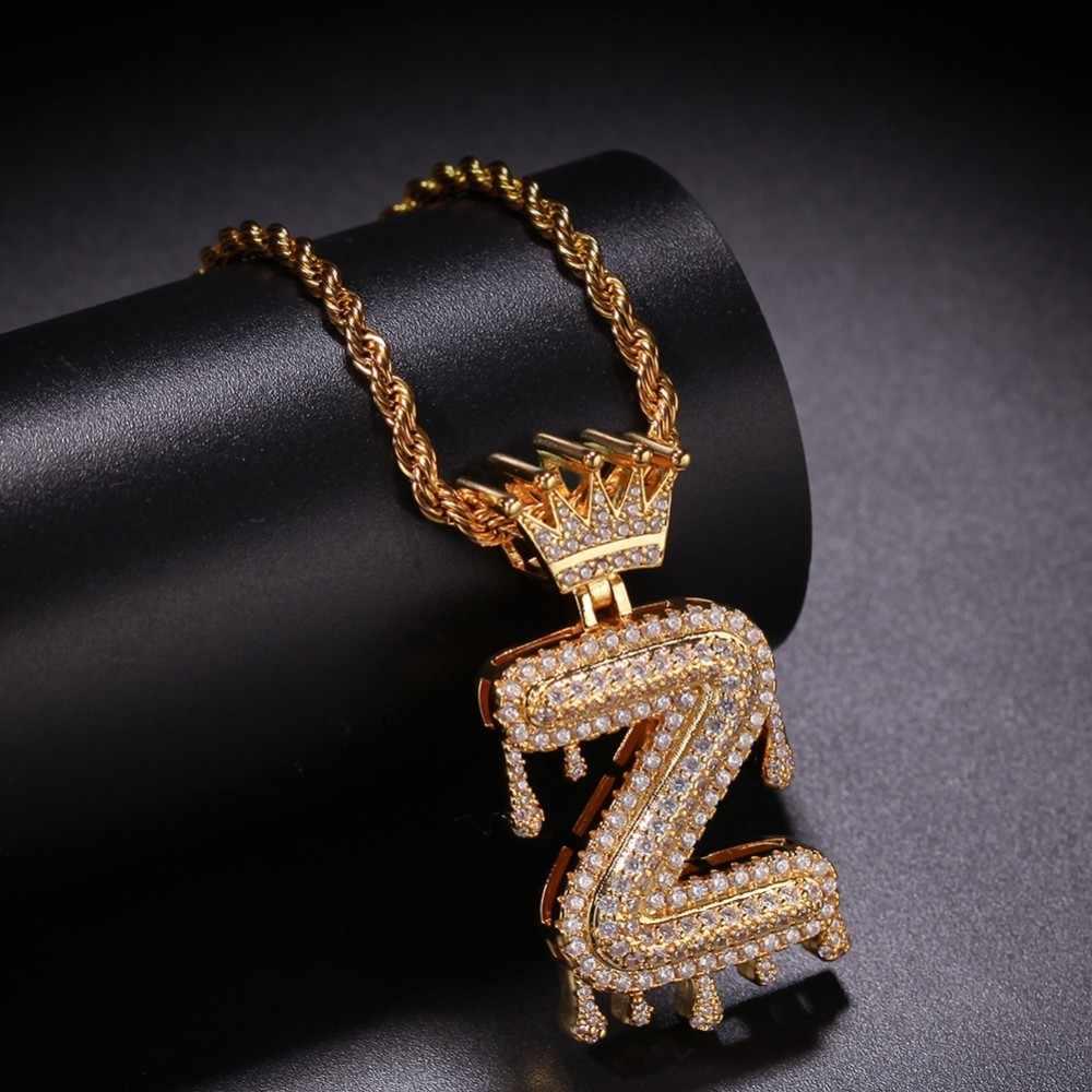Пользовательские короны под поручень капельного пузыря Начальная цепочка с буквами ожерелья и кулон для мужчин женщин Золотой Цвет кубический циркониевый хип хоп ювелирные изделия