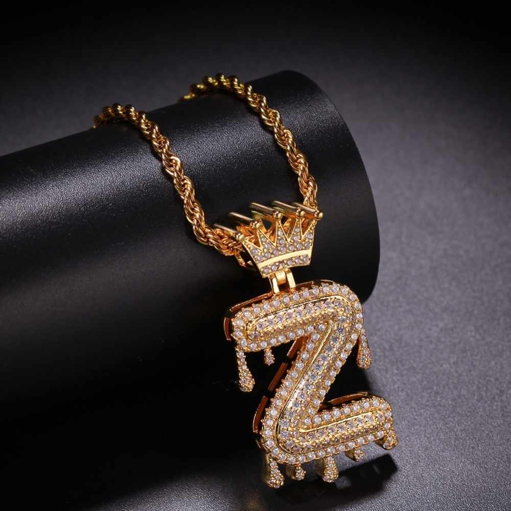 Custom Crown Bail Drip Bubble Initial Letters Chain Necklaces & Pendant For Men Women Gold Color Cubic Zircon Hip Hop Jewelry