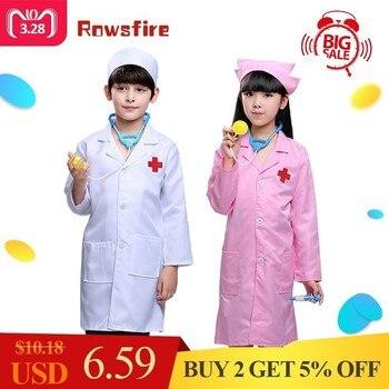 Доктор Enfant претендует игрушки профессиональная медсестра Ролевой костюм для 90/110/130 см дети с длинным рукавом доктор + Кепки >> Rowsfire Children-Toy Store