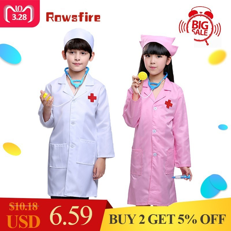 Children Halloween Costumes Children Girls Doctor Nurse Role-playing Sets Girls Pretend Play Doctor Nurse Cosplay Wear Durable Service Mother & Kids Boys' Clothing