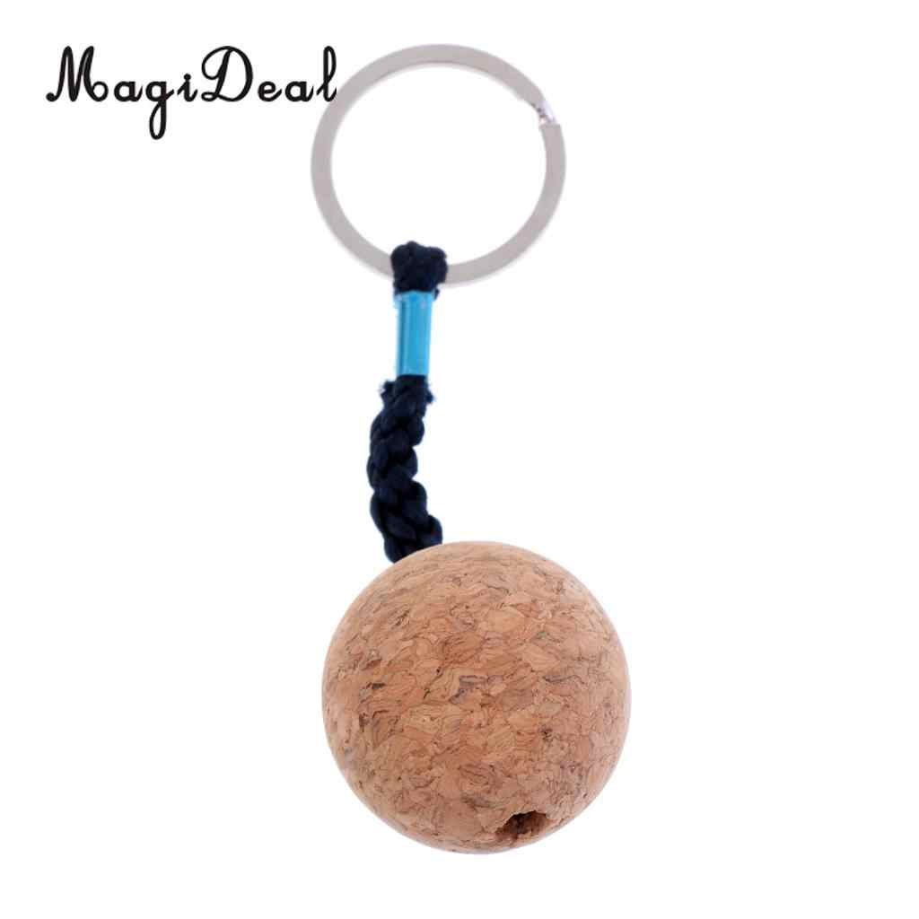 5cm Floating Cork Keyring Wooden Water Ball Buoyant Key Ring Marine Boat