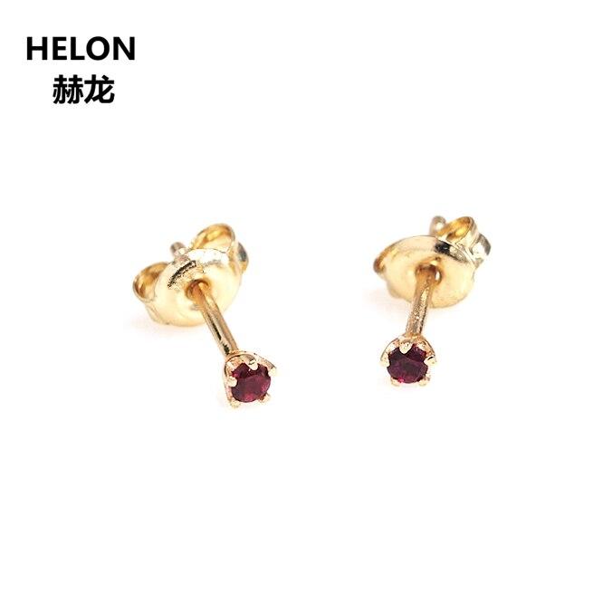 الصلبة 14 k الذهب الأصفر الطبيعي الياقوت الأزرق الأحمر روبي الزمرد أقراط النساء الأقراط غرامة المجوهرات 2mm جولة-في الأقراط من الإكسسوارات والجواهر على  مجموعة 2