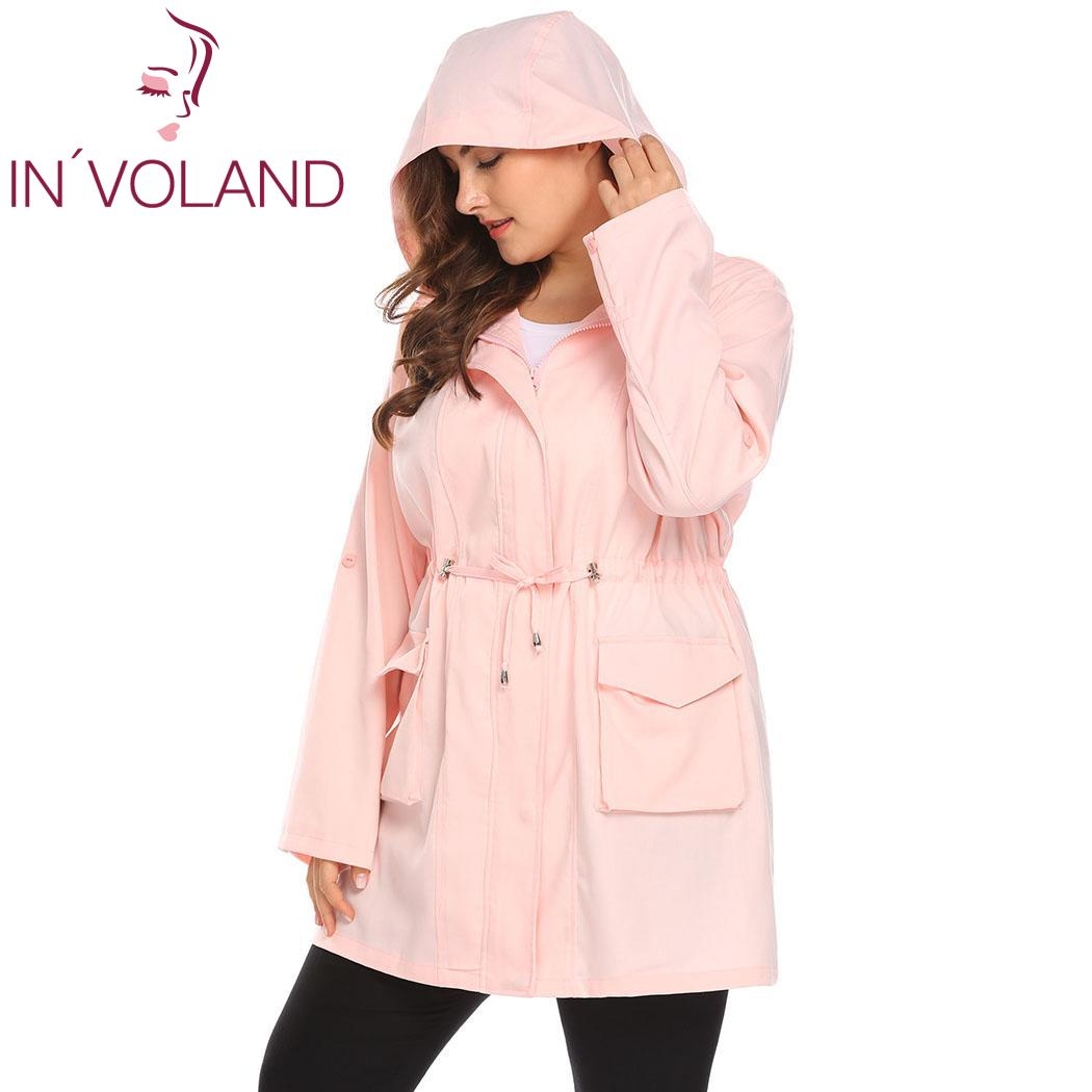 IN'VOLAND Plus Size Women Coats Outwear Casual Hooded   Trench   Roll Up Sleeve Drawstring Winter Coat Solid Autumn   Trench   Overcoat