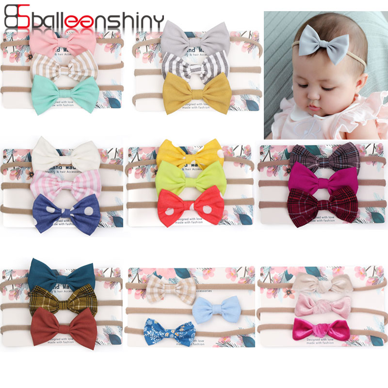 Balleenshiny 3pcs Baby Headband Stretchy Nylon Bow Headbands For Girls Cute Bows Headband Set Kids Baby Girls Hair Accessories