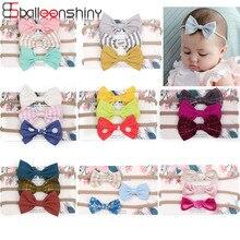 Balleenshiny 3pcs Baby Headband Stretchy Nylon Bow Headbands for Girls Cute Bows Set Kids Hair Accessories