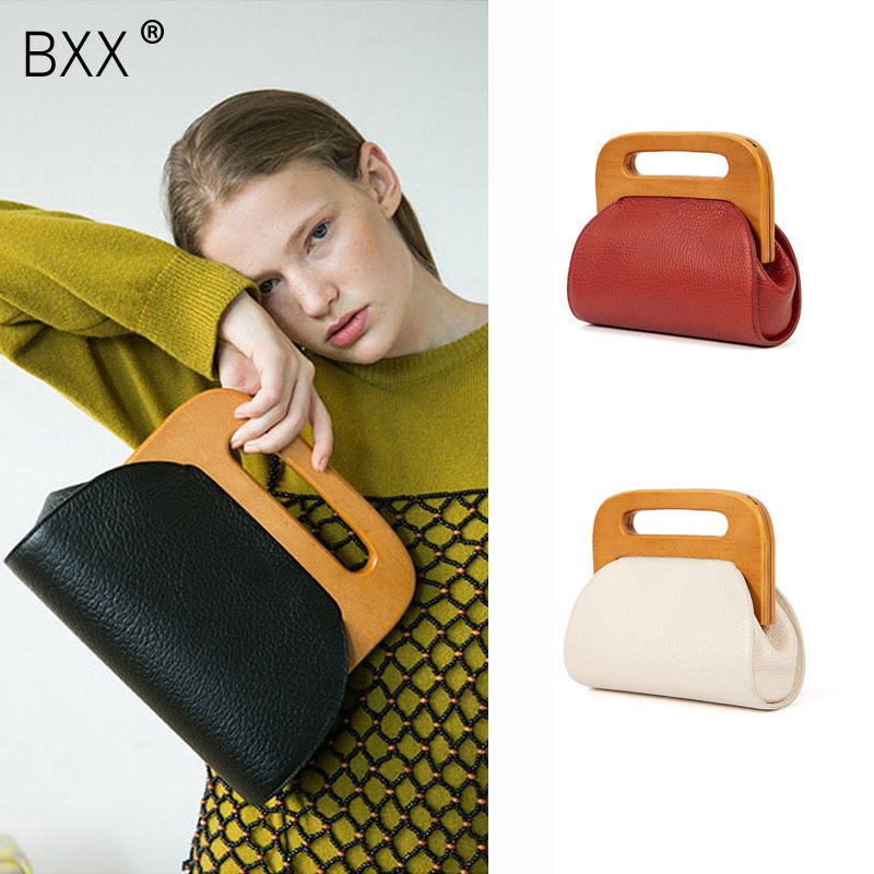 BXX Women Luxury Handbag Wood Handle Bag Day Clutche Female Vintage Crossbody Bucket Bag Crossbody