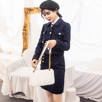 2019 New Women Navy Blue Tweed Jacket Pencil Skirt Suits Small Fragrant Golden Button Short Coat Wool Two Piece Sets