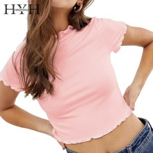 HYH Haoyihui Summer Pure Color Pink Tops Sweet Girls T-shirt Lotus Leaf Edge Sleeve Navel O-Neck Short