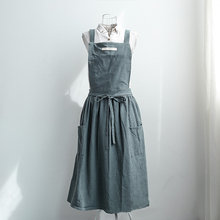 Women Bib Overalls Sleeveless Pinafore Dress Apron Cotton Linen Cafe Kitchen Cooking Florist Retro Weekend Casual