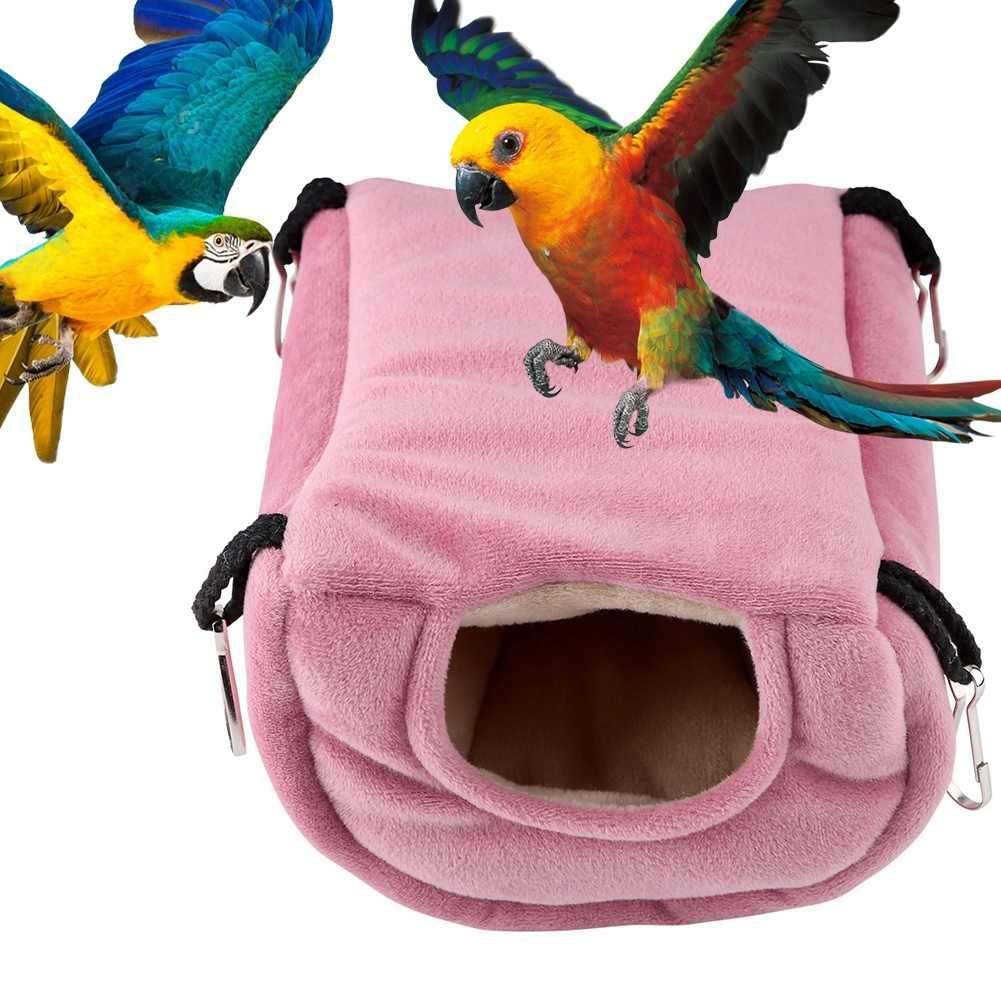 Windproof Warm Parrot Nest Plush Hammock Hanging Swing Bed Cave for Pet Bird