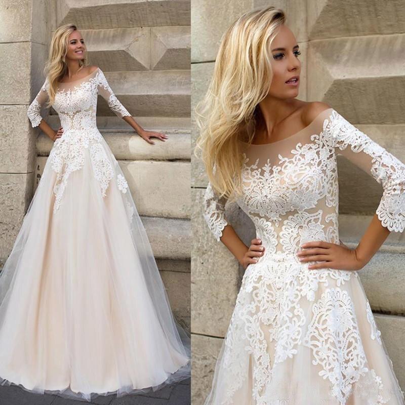 Image 5 - lORIE  Wedding Dresses 2019 Elegant 3/4 Sleeves Sweep Train Plus Size Bridal Dress Custom Champagne Boho Wedding Gown-in Wedding Dresses from Weddings & Events