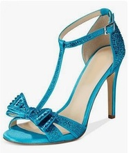 Big Sale Blue Crystal Bowtie T-bar Women Sandals Cut-out Peep Toe Thin Heels Gladiator Hollow Dress Shoes Wedding