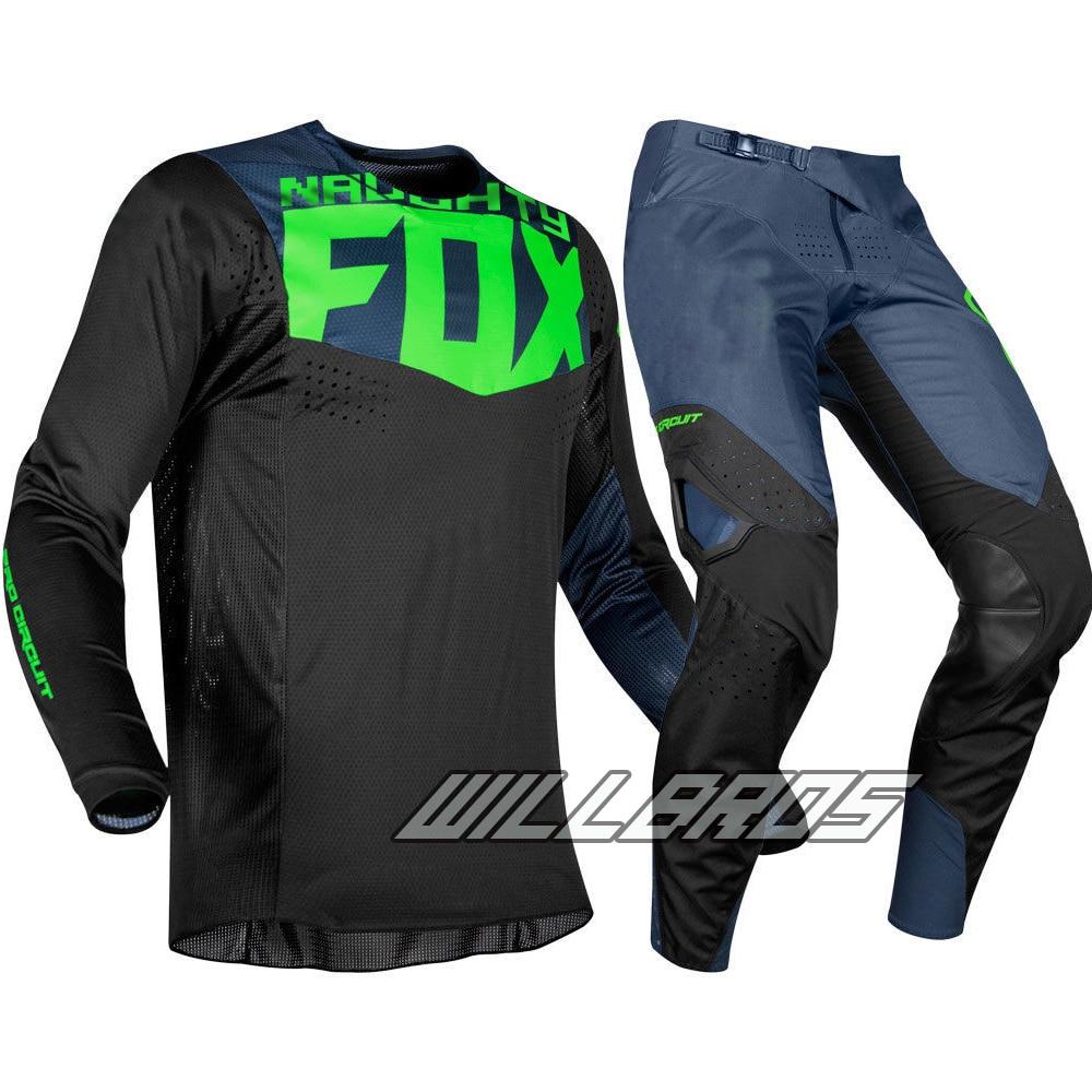 Livraison gratuite 2019 vilain Fox MX 360 Pro Circuit Jersey pantalon Motocross Dirt bike Off Road Gear Set course jersey + pantalon