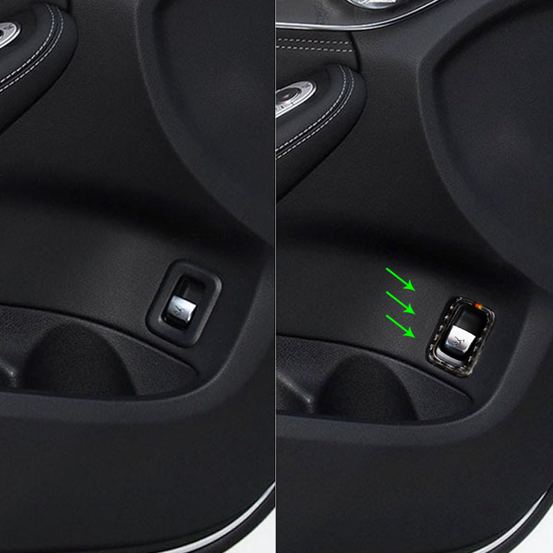 Car Carbon Fiber Rear Trunk Switch Button Frame Cover Decorative Trim For Mercedes Benz C Class <font><b>W205</b></font> C180 C200 <font><b>C300</b></font> GLC260 image