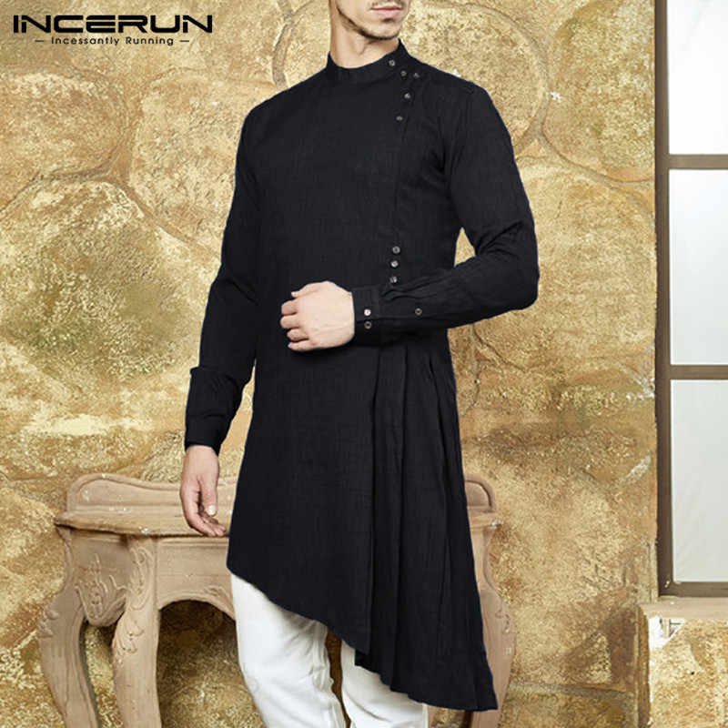 8e41edb50de6 ... INCERUN Mens Kurta Suit Long Sleeve Shirts Dress Muslim Asymmetric Hem  Kaftan Islamic Clothing Chemise Indien ...