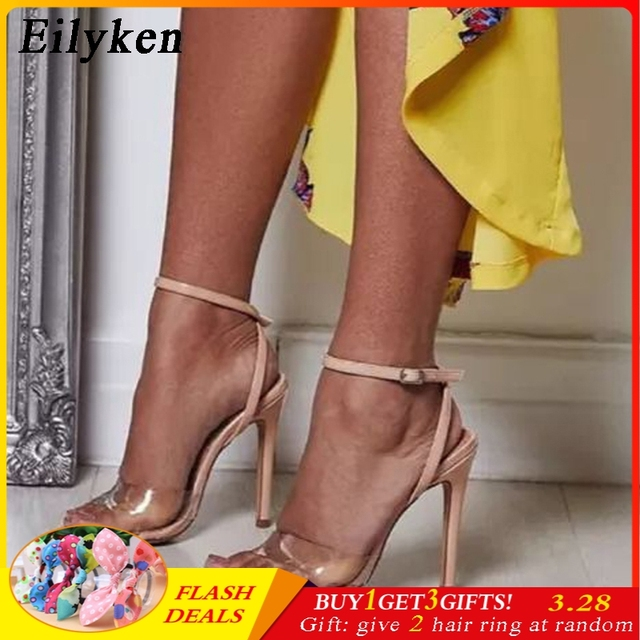 6e9d6489814 US $16.9 45% OFF Eilyken PVC Gladiator Sandals Women High Heels Sexy Cross  tied Buckle Strap Ankle Strap Sandal Summer Party Sandals Shoes-in High ...