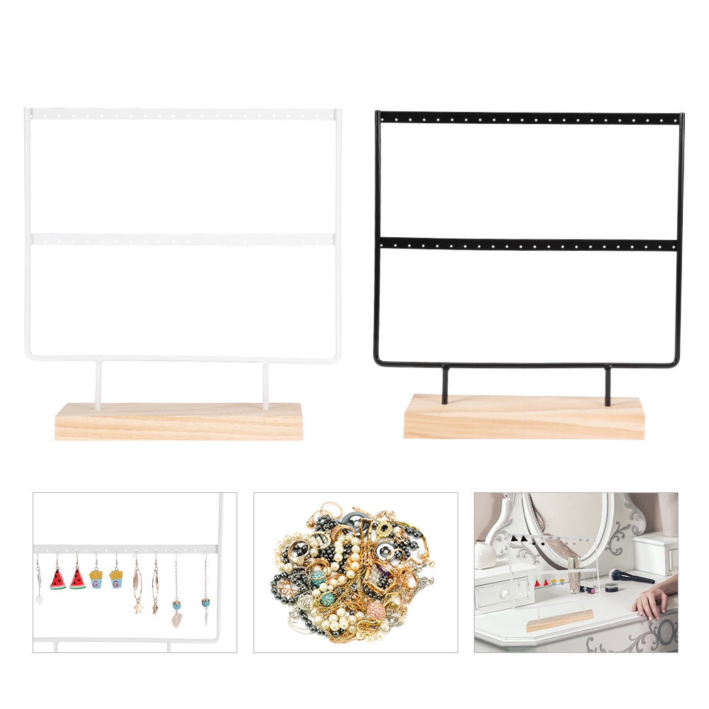 Professional New Wooden Dish Stainless Steel Earrings Charm Jewelry Necklace Earring Ring Organizer Display Holder Stand Fast Color