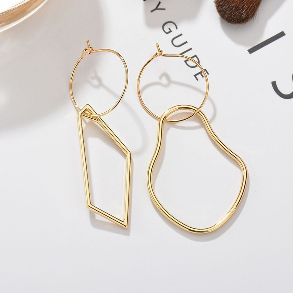 Oval Drop Clip on Earrings for Girls with Crystal Fashion Birthstone Asymmetrical Earring