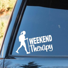 Hiker Girl Hiking Weekend Therapy Decal Sticker Camper Camping Tent Kayak Rear Window Car
