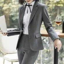 Plus Size High Quality Lady Business Two Pieces Set Women Pant Suits Slim Work Wear Office Lady Long Sleeve Blazer Pants Set цена и фото