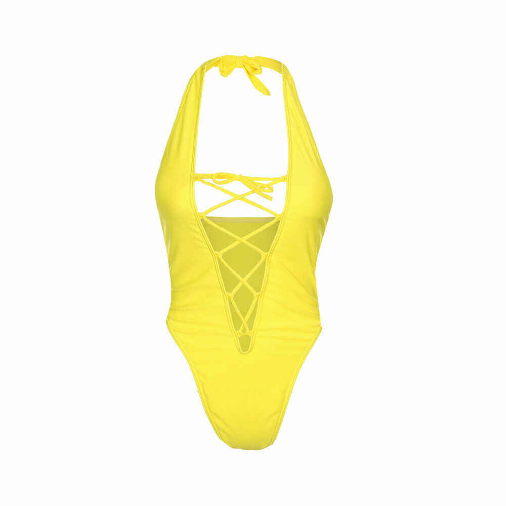 Verano mujer Sexy de una pieza trajes de baño vendaje profundo cuello en V monokini sin respaldo acolchado amarillo traje de baño