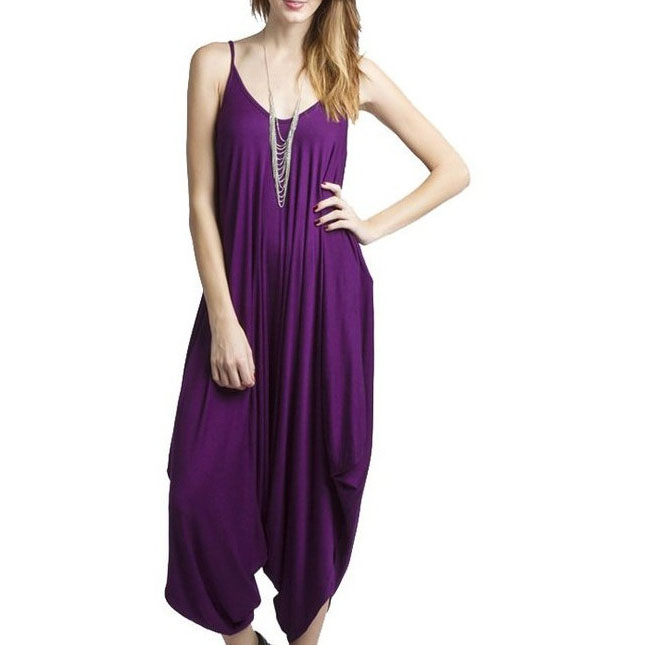 Summer Women Solid Color Sexy   Romper   Casual Loose Ladies Spaghetti Strap Jumpsuits Deep V-Neck Backless Long   Rompers