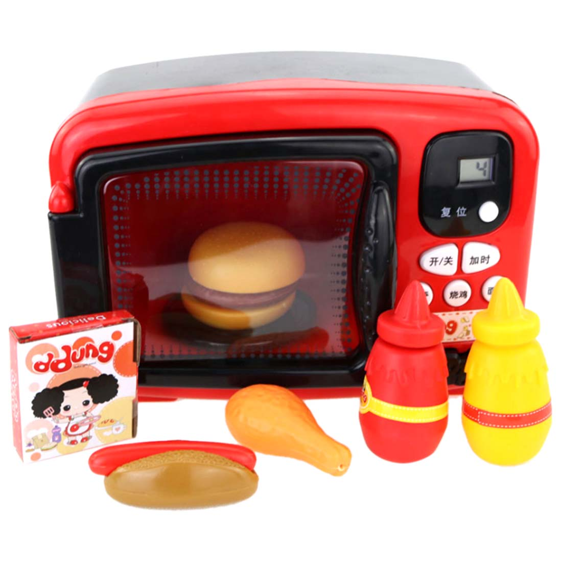 Children L Simulated Microwave Oven Pretend Play Kitchen Toy Educational Playset food Heats Up Hamburger Early