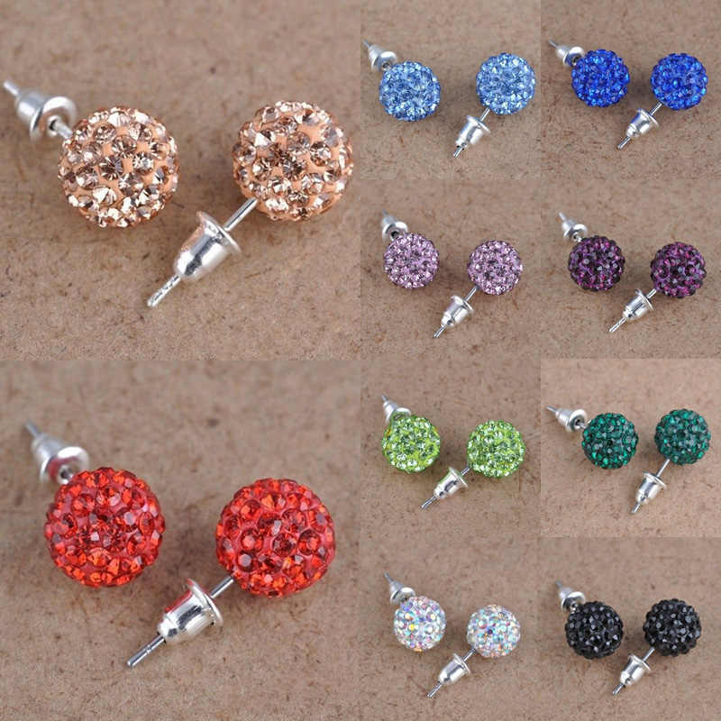 Fashion 1 Pair 10mm Women Stud Earrings Colorful Crystal Ear Piercing Rhinestones Round Ball Jewelry Korean Round Spherical