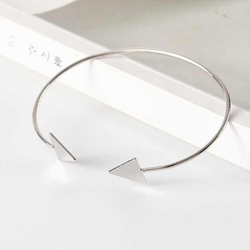 Прямая доставка, открытые браслеты со стрелками, золотой, серебряный, черный треугольник, геометрический браслет, браслеты для женщин, простые корейские модные ювелирные изделия