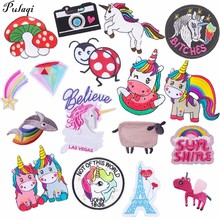 Pulaqi Cartoon Appliqued Embroidered Patches For Jeans Kids Heat Transfers Sew On Clothes Hat Unicorn Rainbow Sticker DIY H
