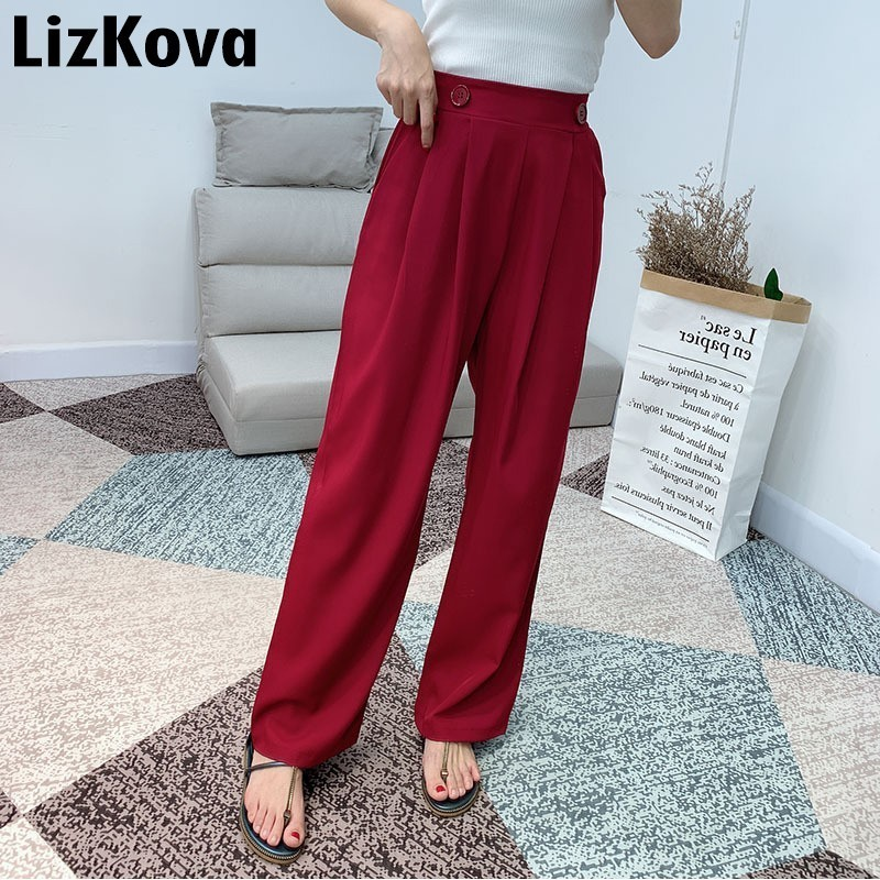 2019 Summer Suit   Pants   Lady Leisure   Wide     Leg     Pants   High Waist Loose Trousers Elastic Waist Pantalon Femme