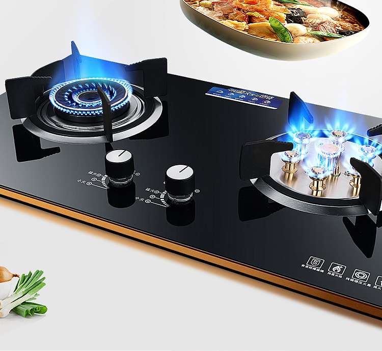 Commercial 2 Pots Gas Stove Toughened Glass Integrated Cooktop Liquefied Gas LPG Fire Ranges Table Embedded Catering Equipment