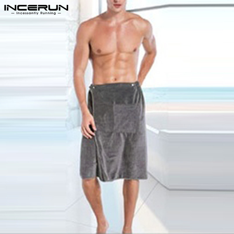 Men Bathrobe Comfortable-Towel with Pockets Wearable Magic-Button Soft Swimming Blanket title=