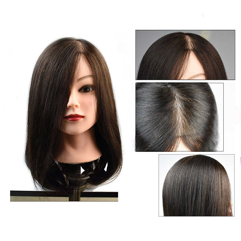 100% Human Hair Mannequin Head Real Human Hair Natural Black Color Practice Model Training Head For Hairdresser