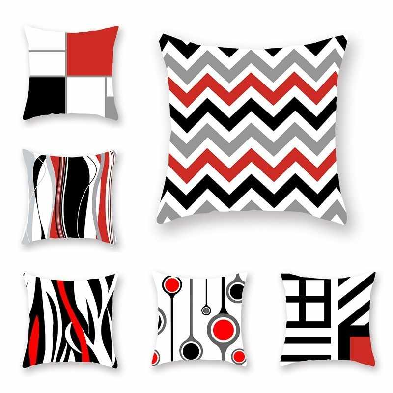 1 Piece Black And Red Geometric Design Cushion Cover 2019 Designed Style Sofa Office Car Home Decoration Pillow Case 45*45cm