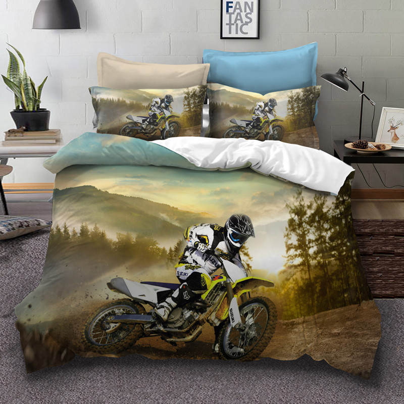 Fanaijia 3d motorcycle bedding set Boy s gift duvet cover with pillowcase set twin size comforter