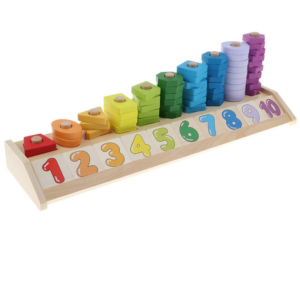 Montessori en bois jouet éducatif comptage tri jeu empilable mathématiques couleur forme début apprentissage jouets cadeau pour enfants enfants