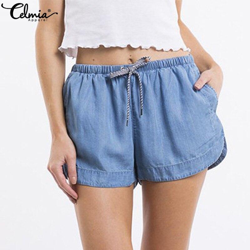 Celmia Plus Size Women   Shorts   2019 New Summer Casual   Shorts   High Waist Pockets Female Solid Loose Beach Sexy Denim   Shorts   S-5XL